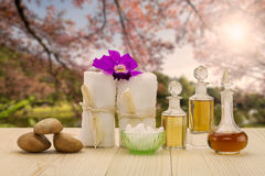 Bottles of aromatic oils with  pink orchid, stones and white towel on vintage wooden floor on blurred lake and forest background Stock Photos