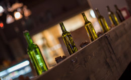 Bottles as decor. Often are used to make interior better royalty free stock image