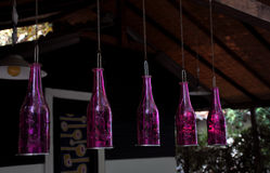 Bottles as lamps Royalty Free Stock Photo