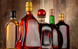 Bottles of assorted alcoholic beverages Stock Photography