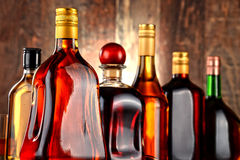 Bottles of assorted alcoholic beverages Stock Image