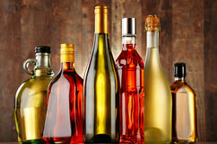 Bottles of assorted alcoholic beverages Royalty Free Stock Photography