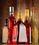 Bottles of assorted alcoholic beverages Royalty Free Stock Image