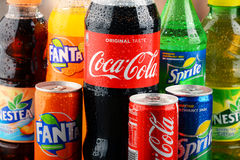 Bottles of assorted Coca Cola Company soft drinks Royalty Free Stock Photo