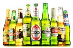 Bottles of assorted global beer brands Stock Images