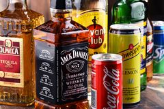 Bottles of assorted global hard liquor brands Royalty Free Stock Photography