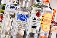 Bottles of assorted global hard liquor brands Royalty Free Stock Images