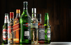 Bottles of assorted hard liquor brands Stock Photography