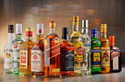 Bottles of assorted hard liquor brands Royalty Free Stock Image