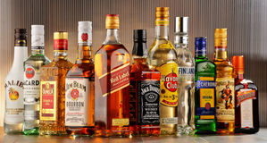 Bottles of assorted hard liquor brands Stock Photography