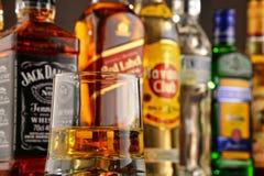 Bottles of assorted hard liquor brands Stock Image