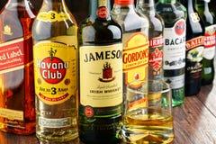 Bottles of assorted hard liquor brands Royalty Free Stock Image