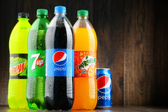 Bottles of assorted Pepsico soft drinks royalty free stock images
