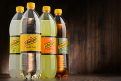 Bottles of assorted Schweppes drinks Stock Image