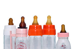 Bottles for baby food isolated stock photo