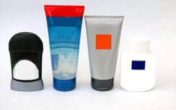 Bottles of beauty body care bathroom toiletries for men. Stock Photo