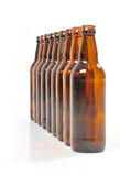 Bottles of beer. Nine empty bottles of beer royalty free stock photos