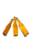 Bottles of beer. Three bottles of beer isolated on withe Stock Photo