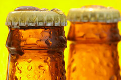 Bottles of beer. Close of the top of bottles of beer Stock Image
