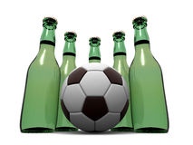Bottles of beer and ball. 3d Royalty Free Stock Photo