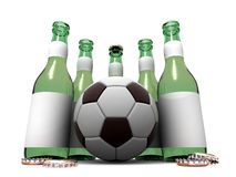 Bottles of beer and ball Stock Photos
