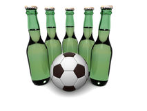 Bottles of beer and ball Royalty Free Stock Images