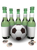 Bottles of beer and ball Stock Images