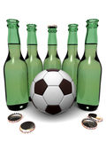 Bottles of beer and ball Royalty Free Stock Photo