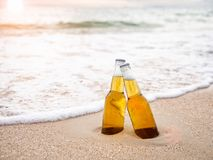 Bottles of Beer on the beach. Party, Friendship, Beer Concept. stock images