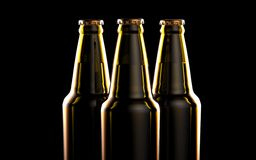 Bottles of beer on a black background. 3d illustration. Royalty Free Stock Photography