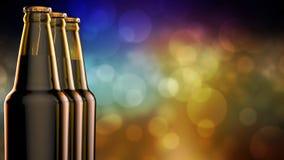 Bottles of beer on a bokeh background. 3d illustration. Stock Images