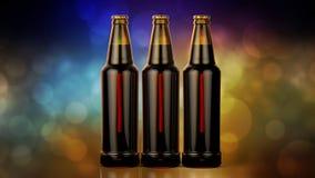 Bottles of beer on a bokeh background. 3d illustration. Royalty Free Stock Images