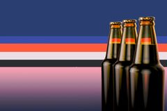 Bottles of beer on a colorful background. 3d illustration. Royalty Free Stock Photos