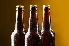 Bottles of beer with drops. Stock Photos