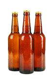 Bottles of beer with drops isolated on white. Stock Photos
