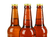 Bottles of beer with drops on white background. Royalty Free Stock Image