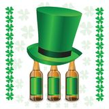 Bottles of beer and green hat Stock Photo
