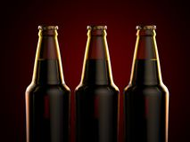 Bottles of beer on a red background. 3d illustration. Royalty Free Stock Images