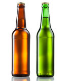 Bottles of beer  on white Royalty Free Stock Photos
