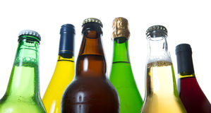 Bottles of beer and wine. Beer, wine and champagne bottle Royalty Free Stock Photography