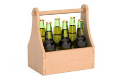 Bottles of beer in wooden packaging, 3D rendering. On white background Royalty Free Stock Photography