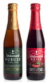 Bottles of Belgian Lindemans Lambic fruit beer. Isolated on a white background Royalty Free Stock Photos