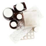 Bottles and blisters of medicines Royalty Free Stock Image