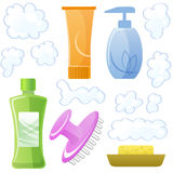 Bottles of body and hair care and beauty products Stock Images
