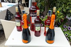 Bottles of Campari , Aperol and Prosecco  in Sirmione Royalty Free Stock Images