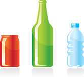 Bottles and can. Illustration Stock Image