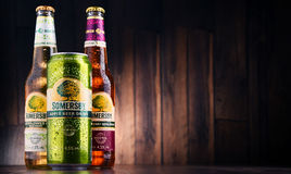 Bottles and can of Somersby cider drink Stock Photos