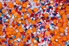 Bottles caps of colored plastic Stock Images