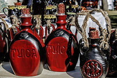Bottles carved wood Royalty Free Stock Images