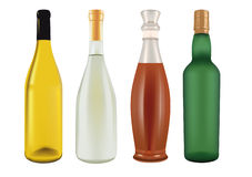 Bottles for champagne, beer, wine and liqueur Stock Images